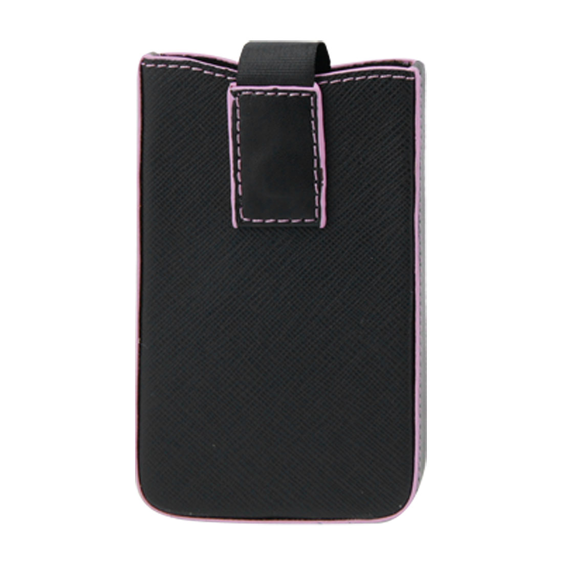 Black Faux Leather Case Pink Edge Pull Up Pouch Bag for iPhone 3G