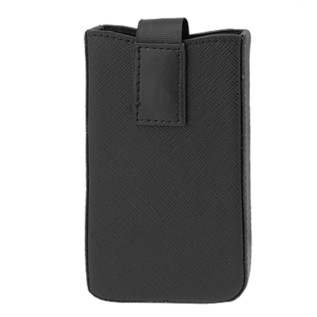 Black Faux Leather Skin Pull Up Pouch Bag for Apple iPhone 3G