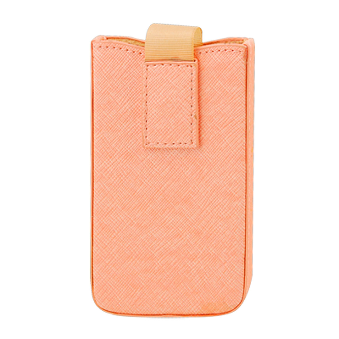 Orange Faux Leather Pull Up Phone Pouch Case for Apple iPhone 4 4G