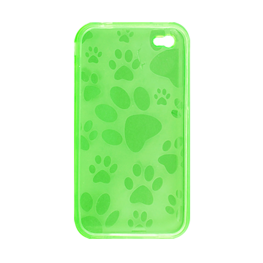 Clear Green Soft Plastic Inner Paw Design Case for iPhone 4 4G