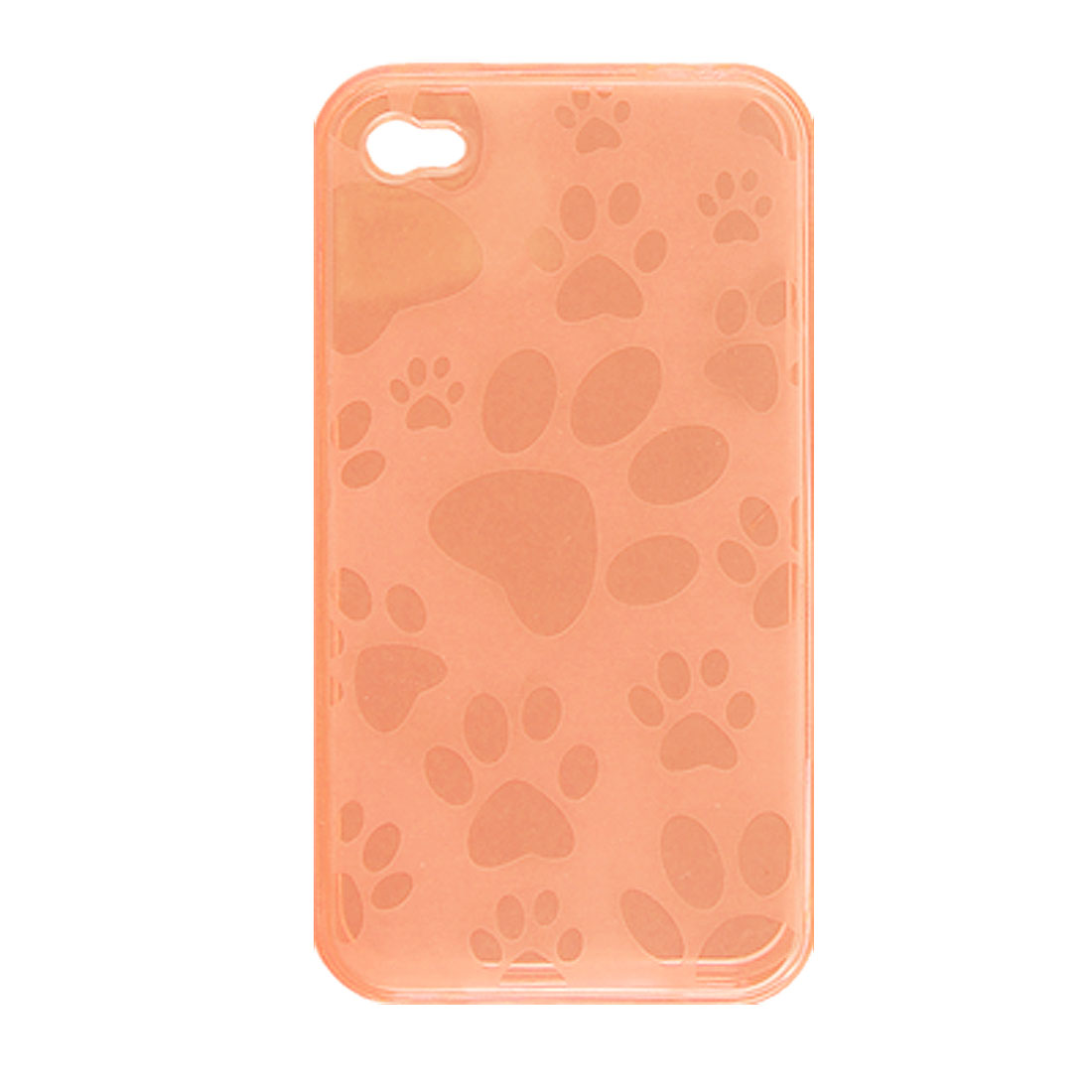 Clear Orange Red Footprints Design Soft Plastic Case for iPhone 4 4G