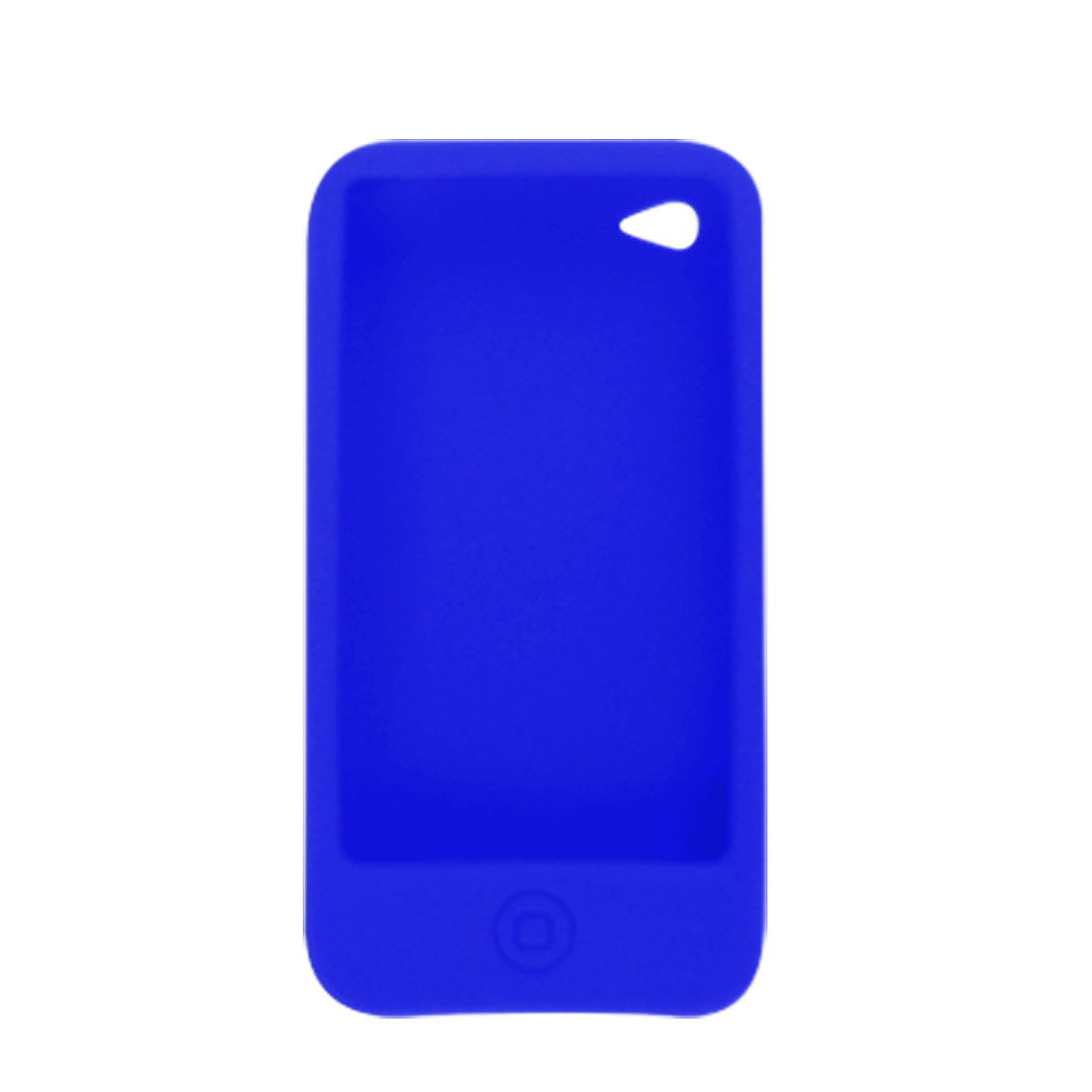 Blue Silicone Soft Press Button Case + Screen Protector for iPhone 4 4G