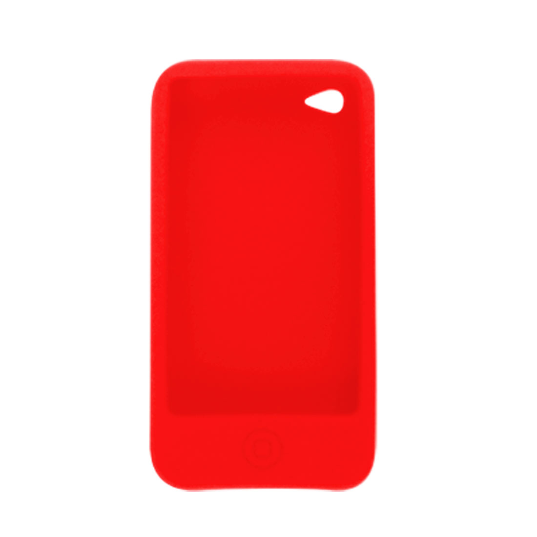Red Soft Silicone Press Button Case Cover + Screen Guard for iPhone 4 4G