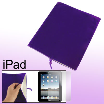 Dark Purple Velvet Bead Cord Pouch Case + Screen Film for Notebook