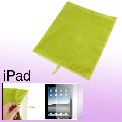 Green Velvet Bead Cord Closure Case + Screen Film for Notebook