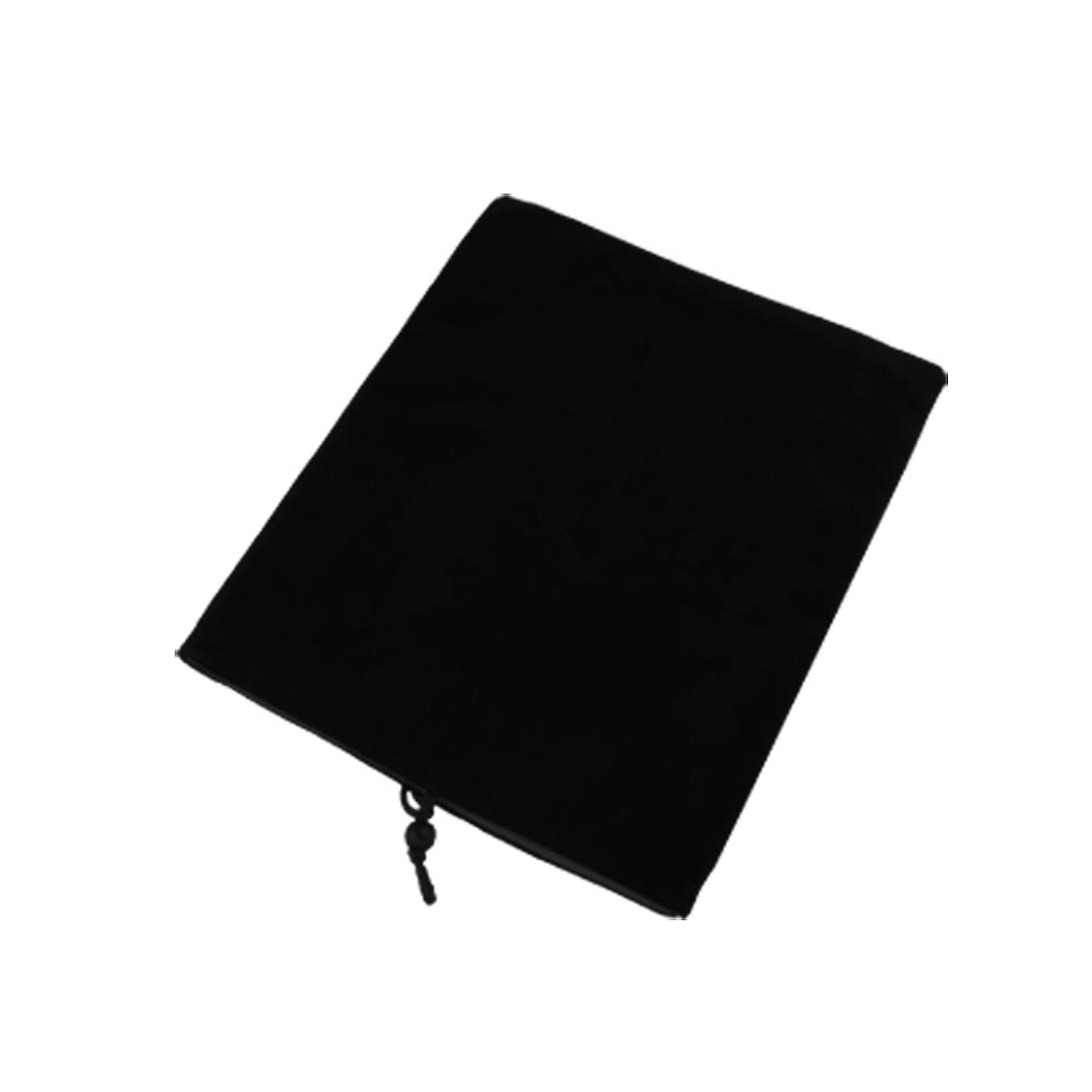 Black Velvet Bead Cord Pouch Case + Screen Guard for iPad 1