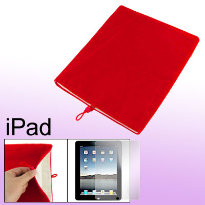 Red Bead Cord Closure Velvet Case + Screen Guard for Notebook