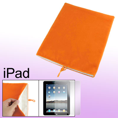 Orange Velvet Bead Cord Pouch Case + Screen Film for Notebook