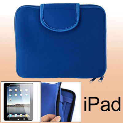 Blue Two-way Zipper Pouch Bag + Screen Guard for Notebook