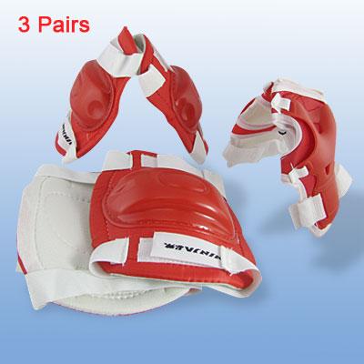 Red Children Elbow Knee Wrist Skating Sport Gear Support Set