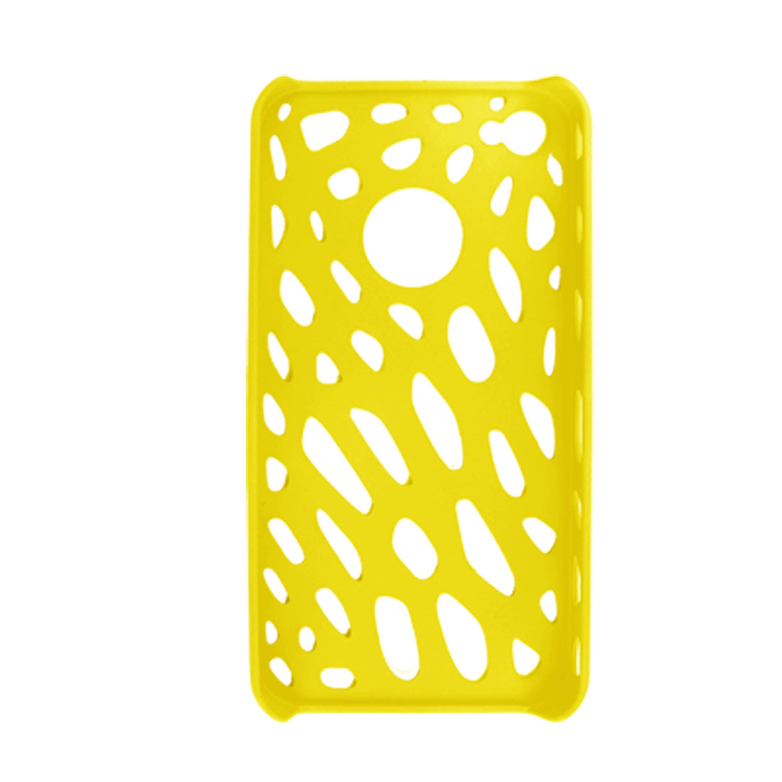Yellow Holes Design Plastic Case + Screen Protector for iPhone 4 4G