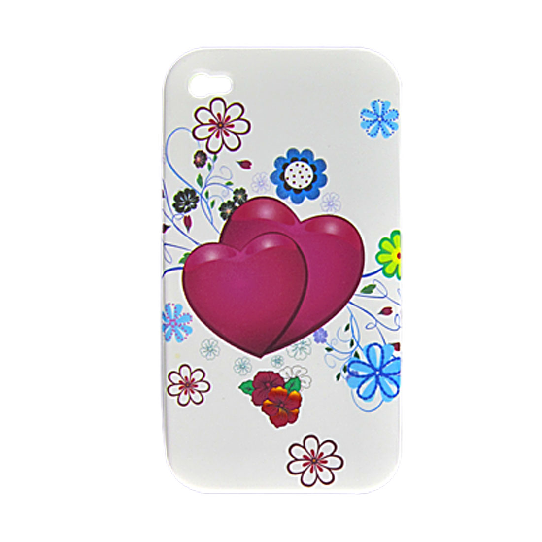 Heart Flower Pattern Soft Plastic Case + Screen Protector for iPhone 4 4G