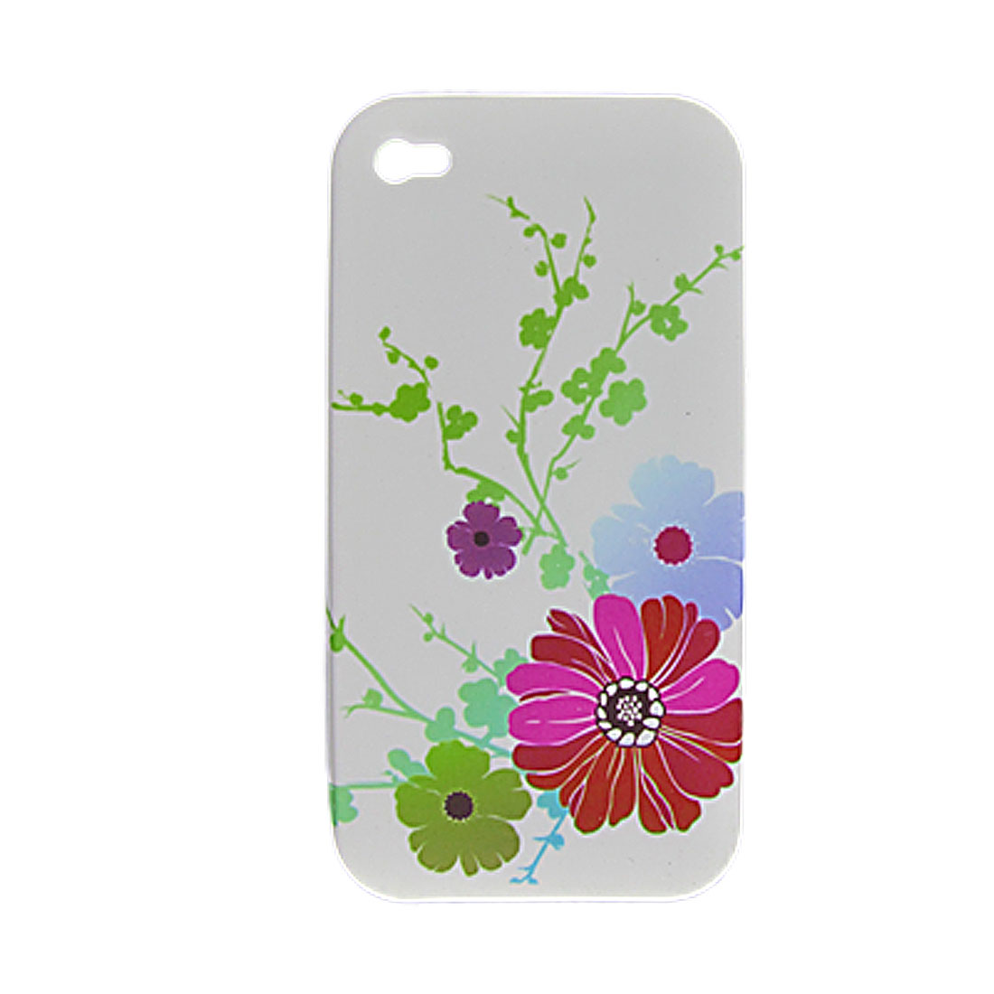 Flower Pattern White Soft Plastic Case + Screen Protector for iPhone 4 4G