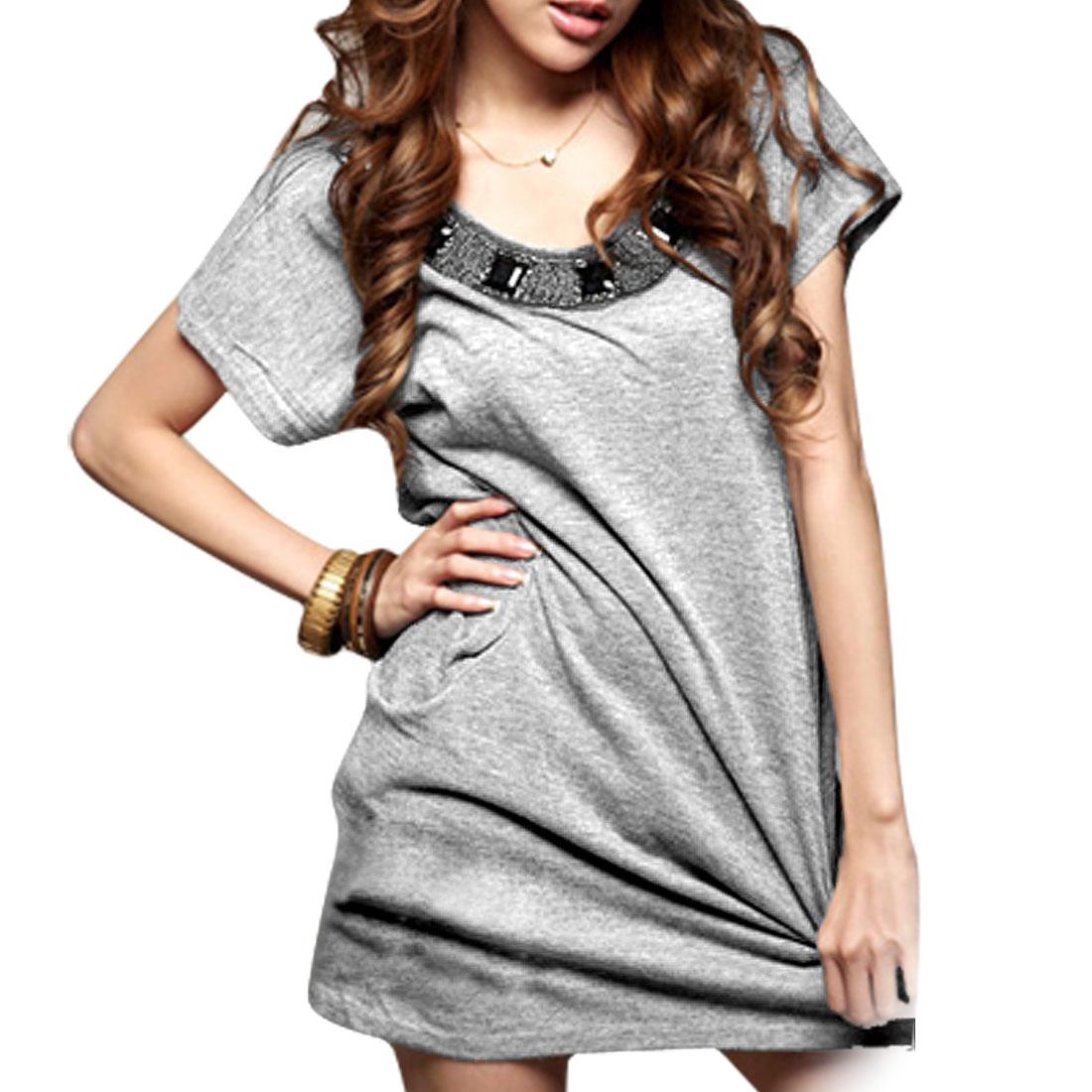 Ladies Scoop Neck Short Sleeve Beads Decor Grey Dress
