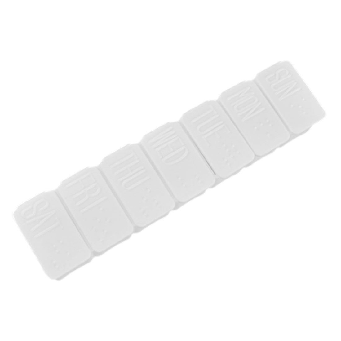 White Rectangle Hard Plastic 7 Day Medicine Organizer Case