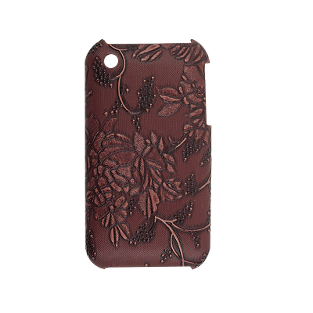 Brown Floral Case + Screen Guard for Apple iPhone 3G