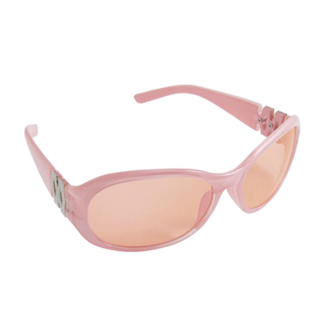 Children Pink Plastic Arms Full-rim Sports Sunglasses