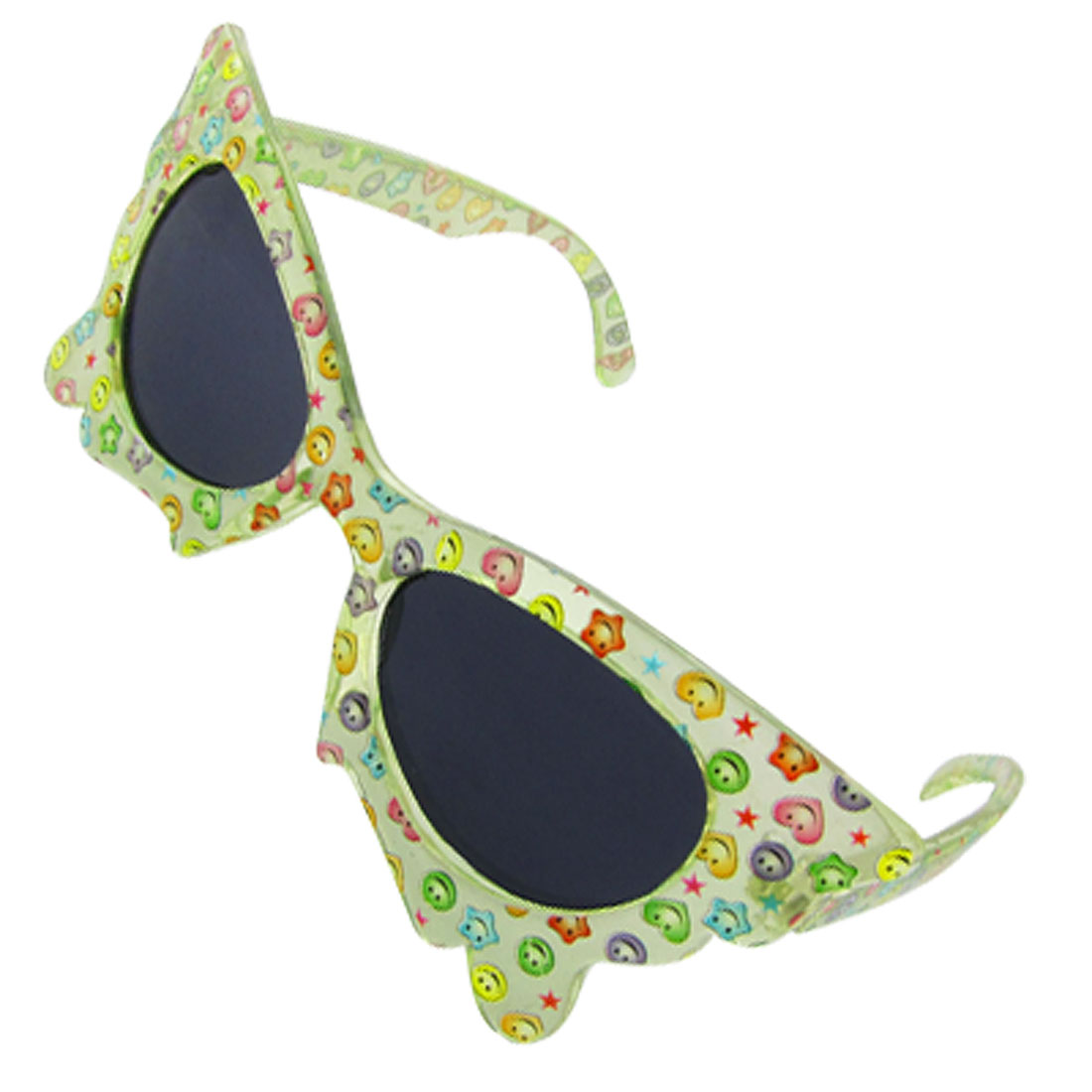 Cute Smiley Face Decor Butterfly Style Grils Sunglasses