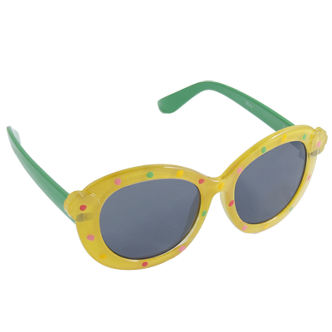 Kids Green Plastic Arms Yellow Full-rim Leisure Sunglasses