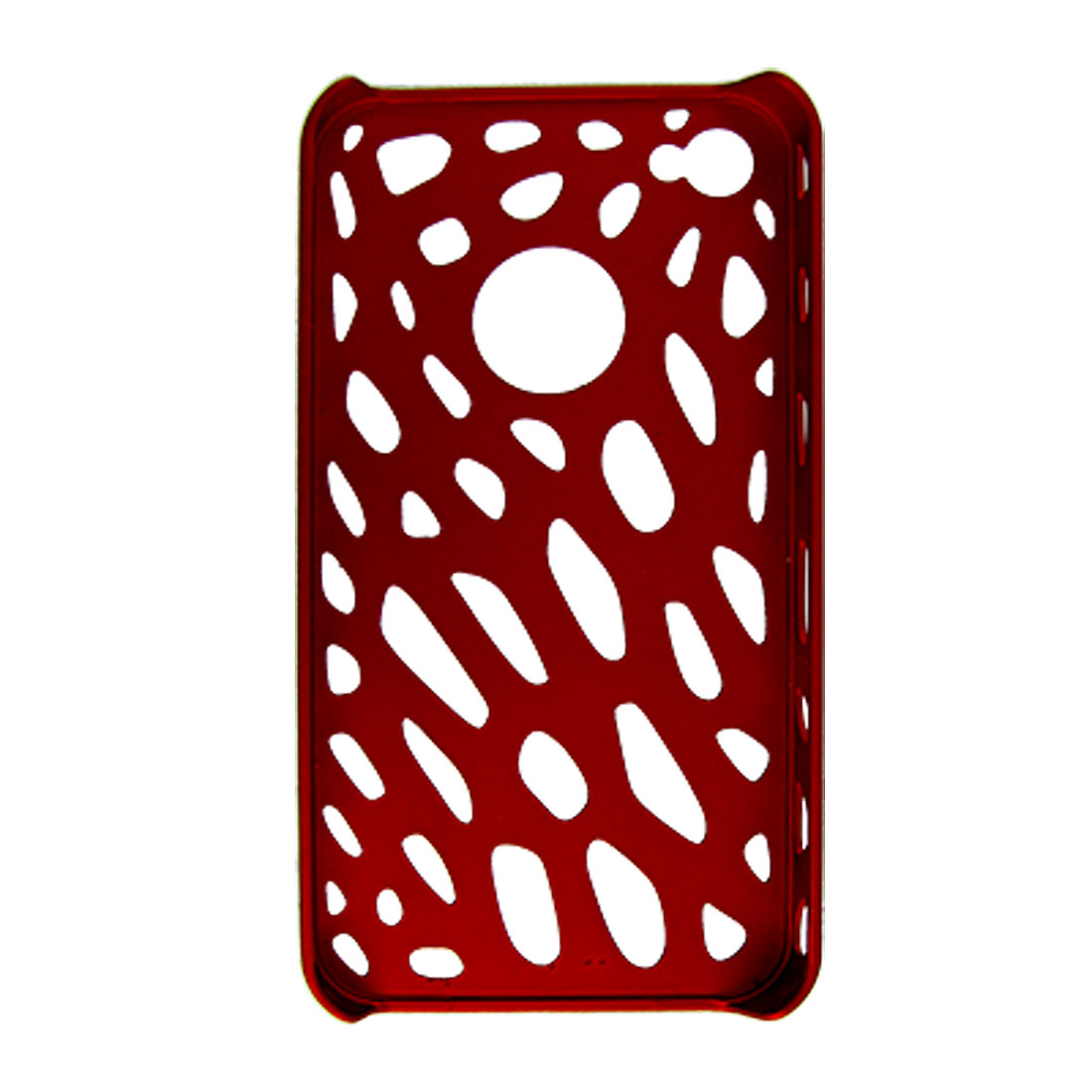 Hole Design Dark Red Rubberized Hard Plastic Shield Case for Apple iPhone 4 4G