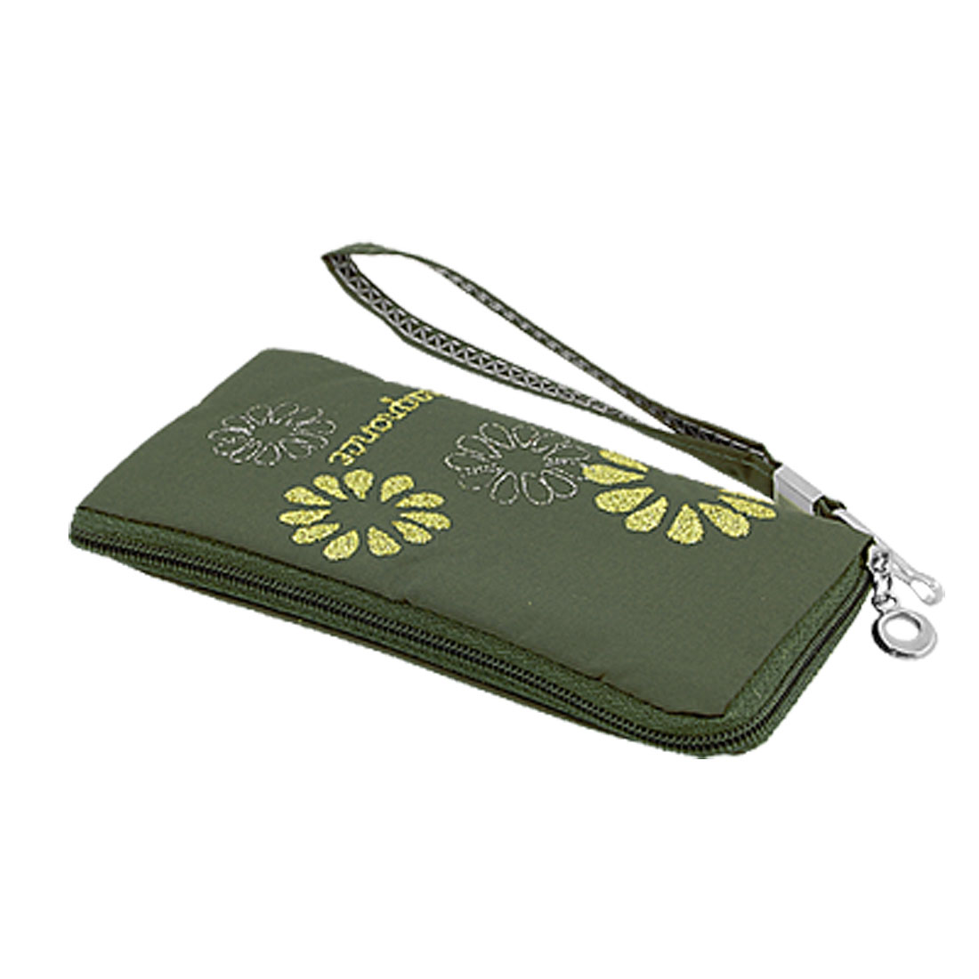 Army Green Zipper Closure Nylon Pouch for Mobile Phone