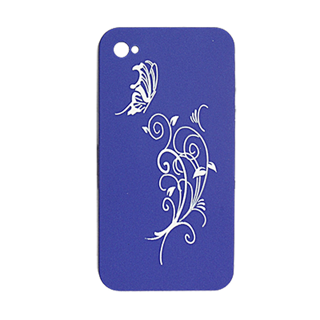 Butterfly Vine Pattern Plastic Cover Blue for iPhone 4
