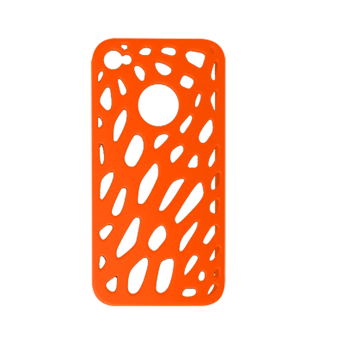 Orange Rubberized Hard Plastic Hole Design Case for Apple iPhone 4 4G