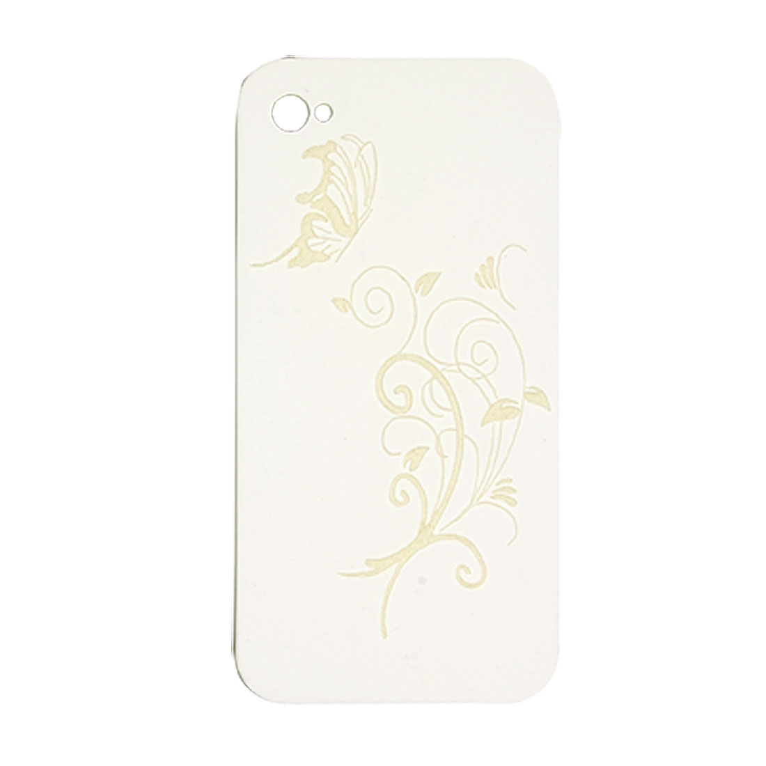 Vine Butterfly Design Plastic Cover White for iPhone 4