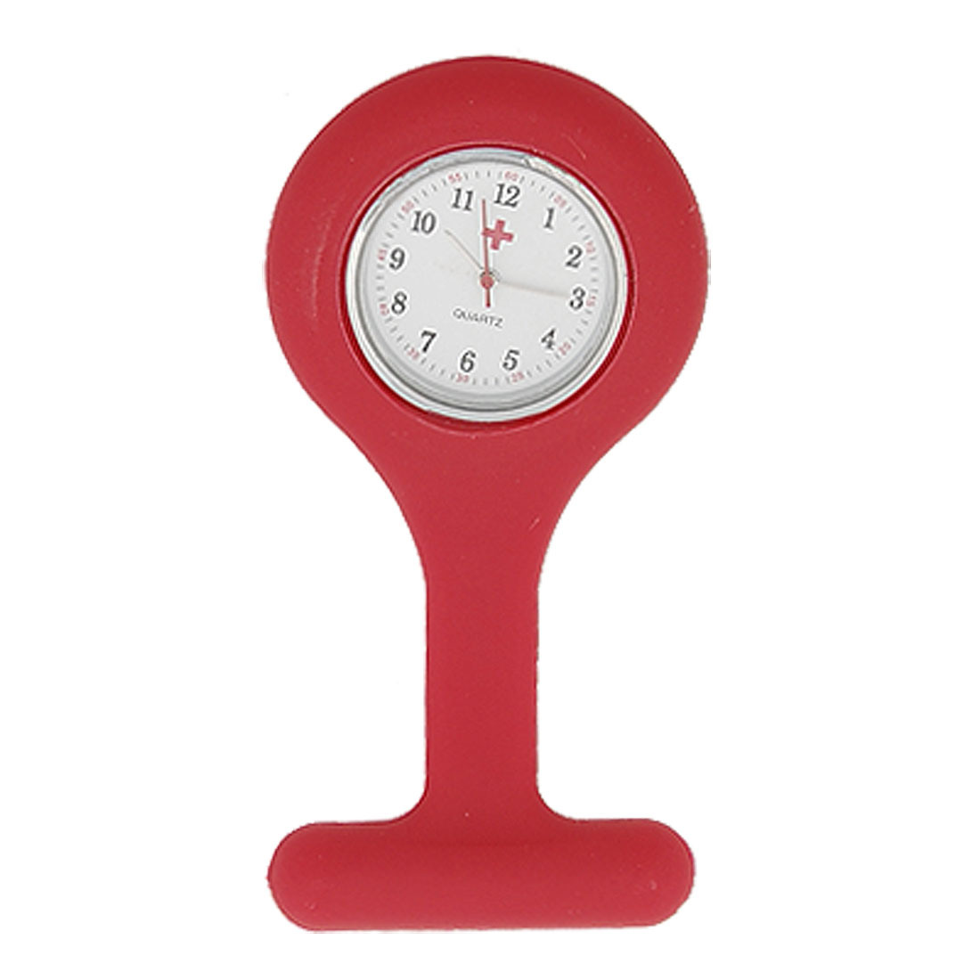Red Silicone Skin Covered Nurses Brooch Watch