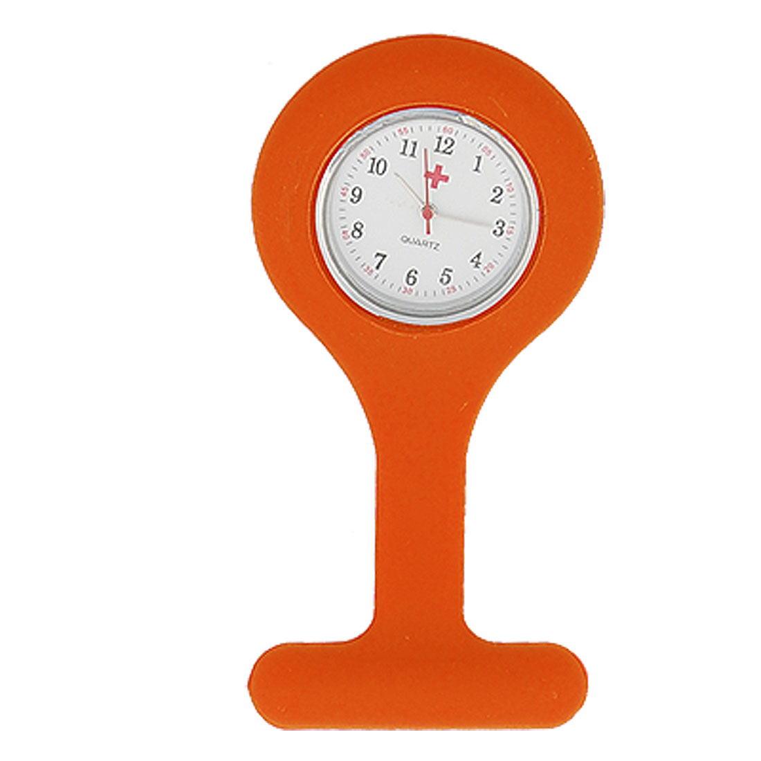 Orange Silicone Skin Covered Pocket Brooch Watch
