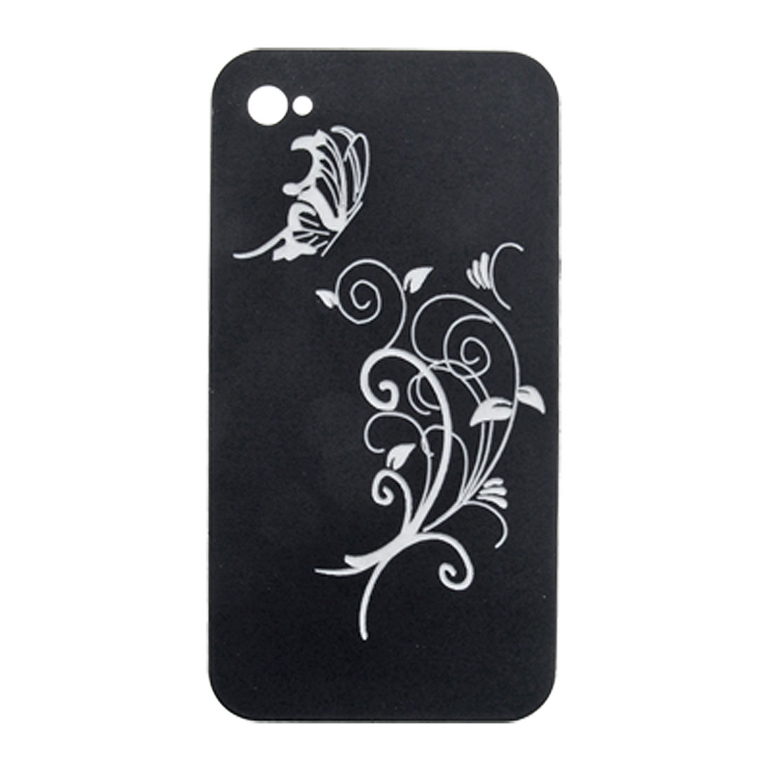 Black White Butterfly Flower Style Hard Case for iPhone 4 4G