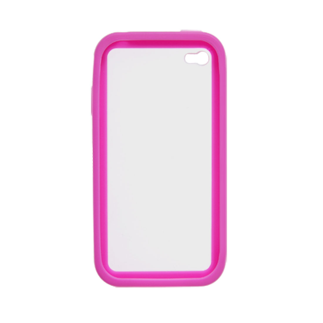 Amaranth Pink Soft Side Clear Hard Back Case for iPhone 4 4G