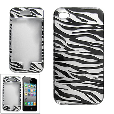 Black Silver Tone Zebra Style Hard Plastic Protector Case for Apple iPhone 4 4G