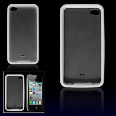 White Side Nonslip Clear Back Anti-glare Case for iPhone 4 4G