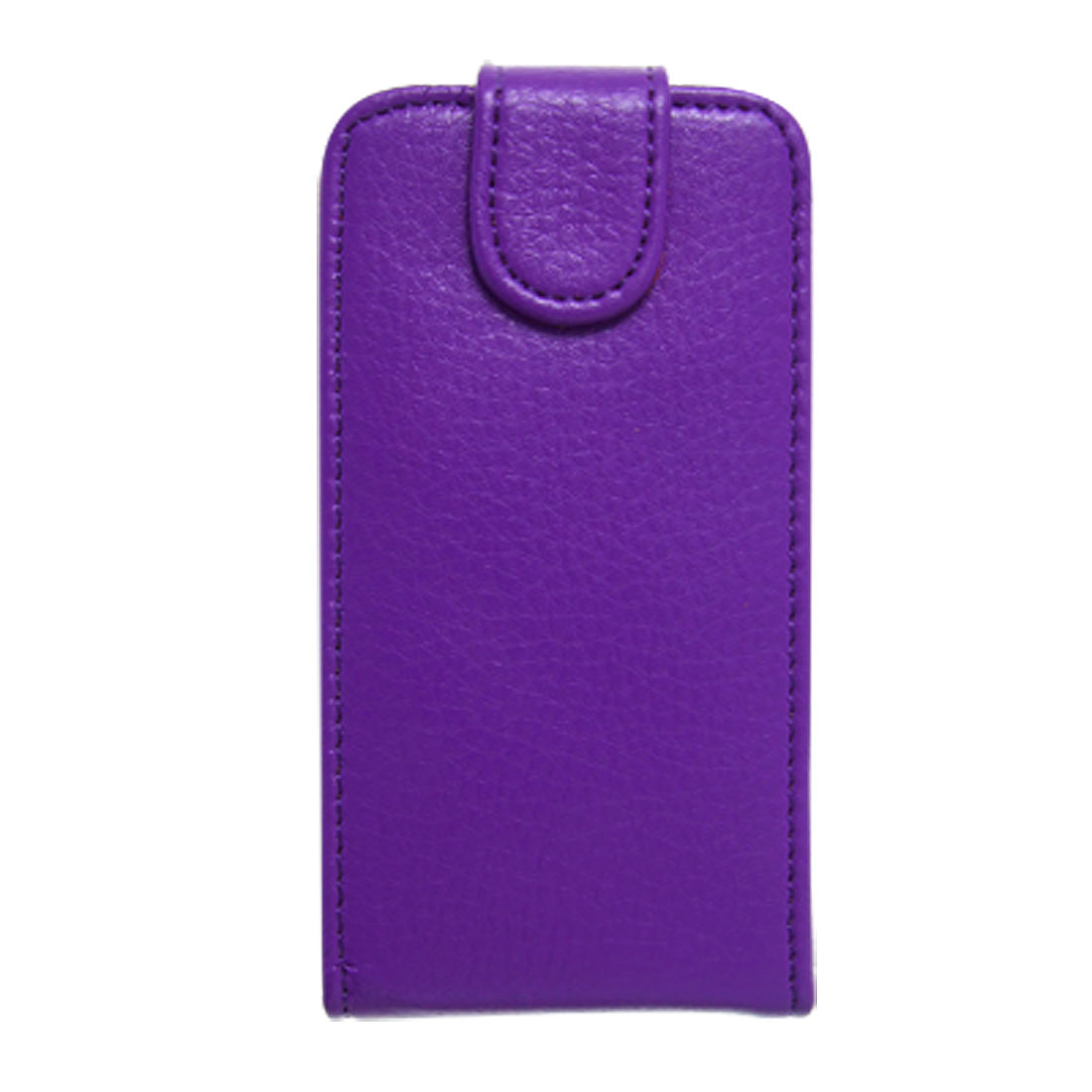 Purple Magnetic Button Closure Faux Leather Case for iPhone 4 4G