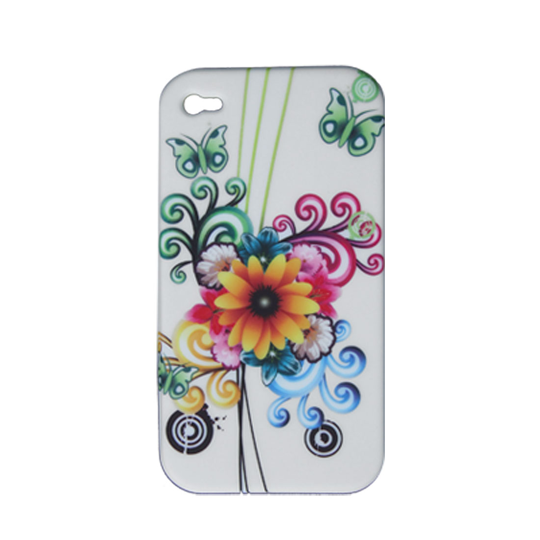 Flower Style Soft Plastic Case + Screen Guard for iPhone 4 4G