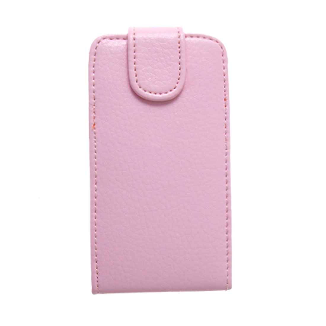 Pink External Faux Leather Magnetic Button Case for iPhone 4 4G