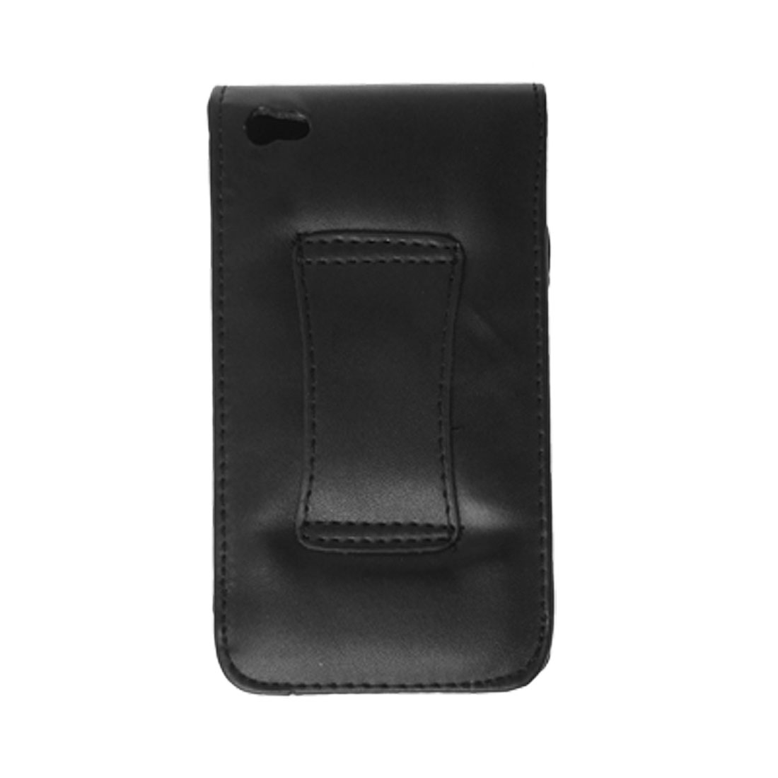 Faux Leather Magnetic Button Case for iPhone 4 4G Black