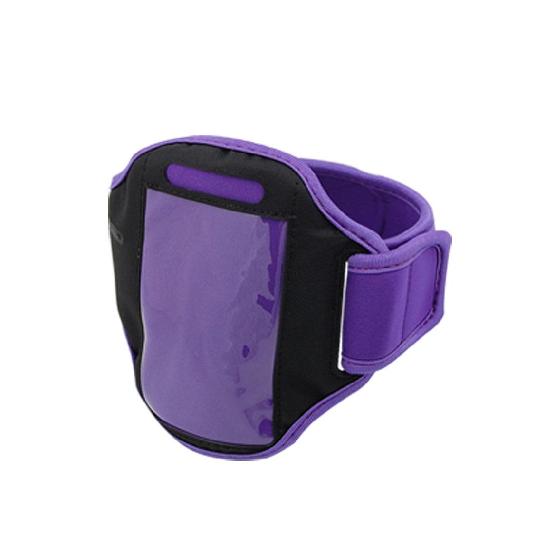 Purple Black Hook and Loop Fastener Closure Neoprene Armband for Cell Phone