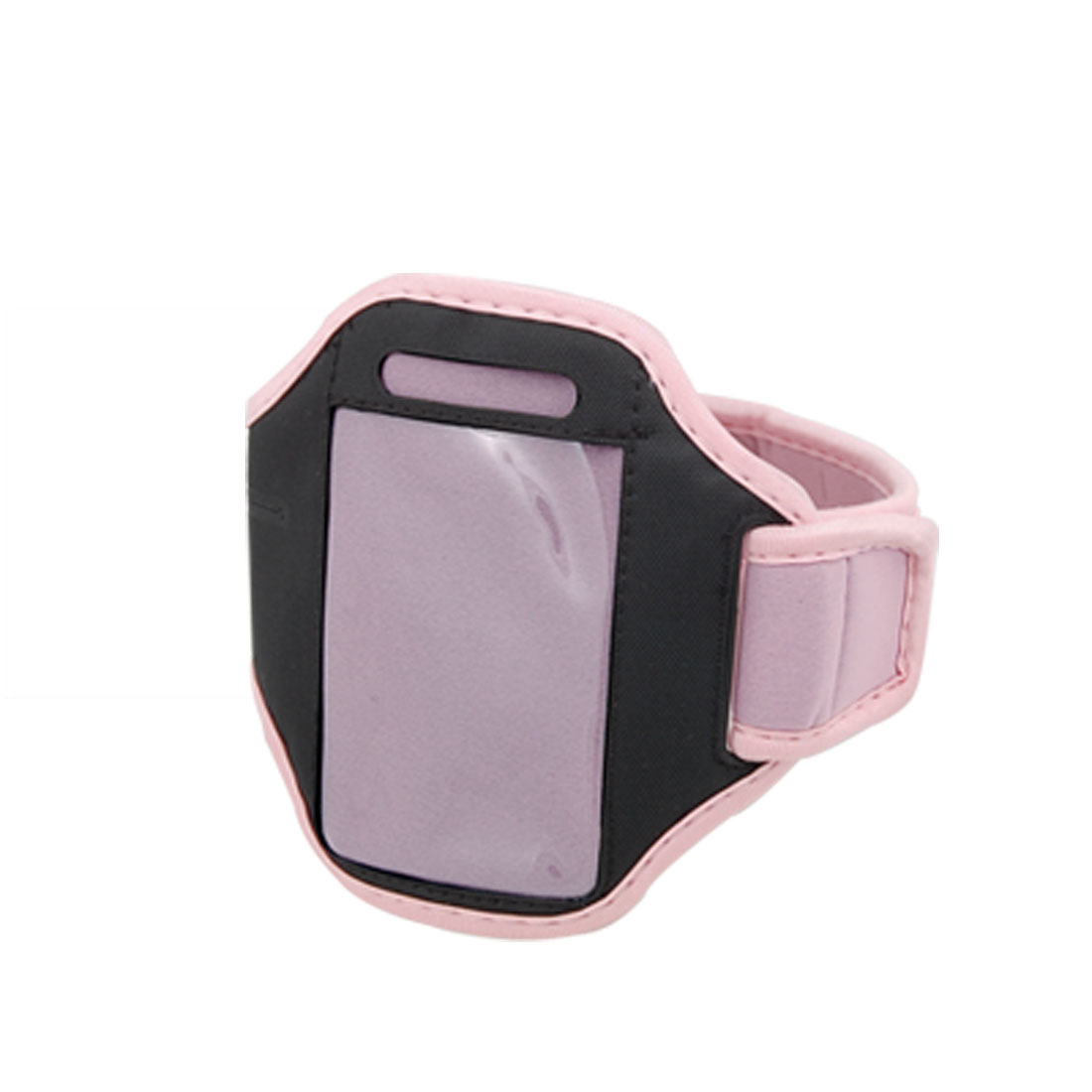Pink Black Hook and Loop Closure Neoprene Armband for iPhone 4