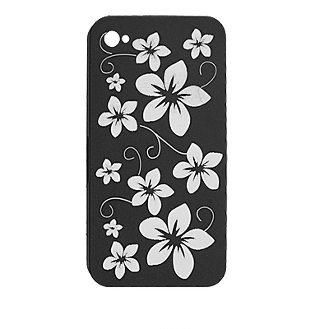 Black Plastic Case Peach Flower Pattern for iPhone 4 4G
