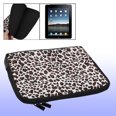 Leopard Skin Style Zippered Flannel Case Bag for Notebook