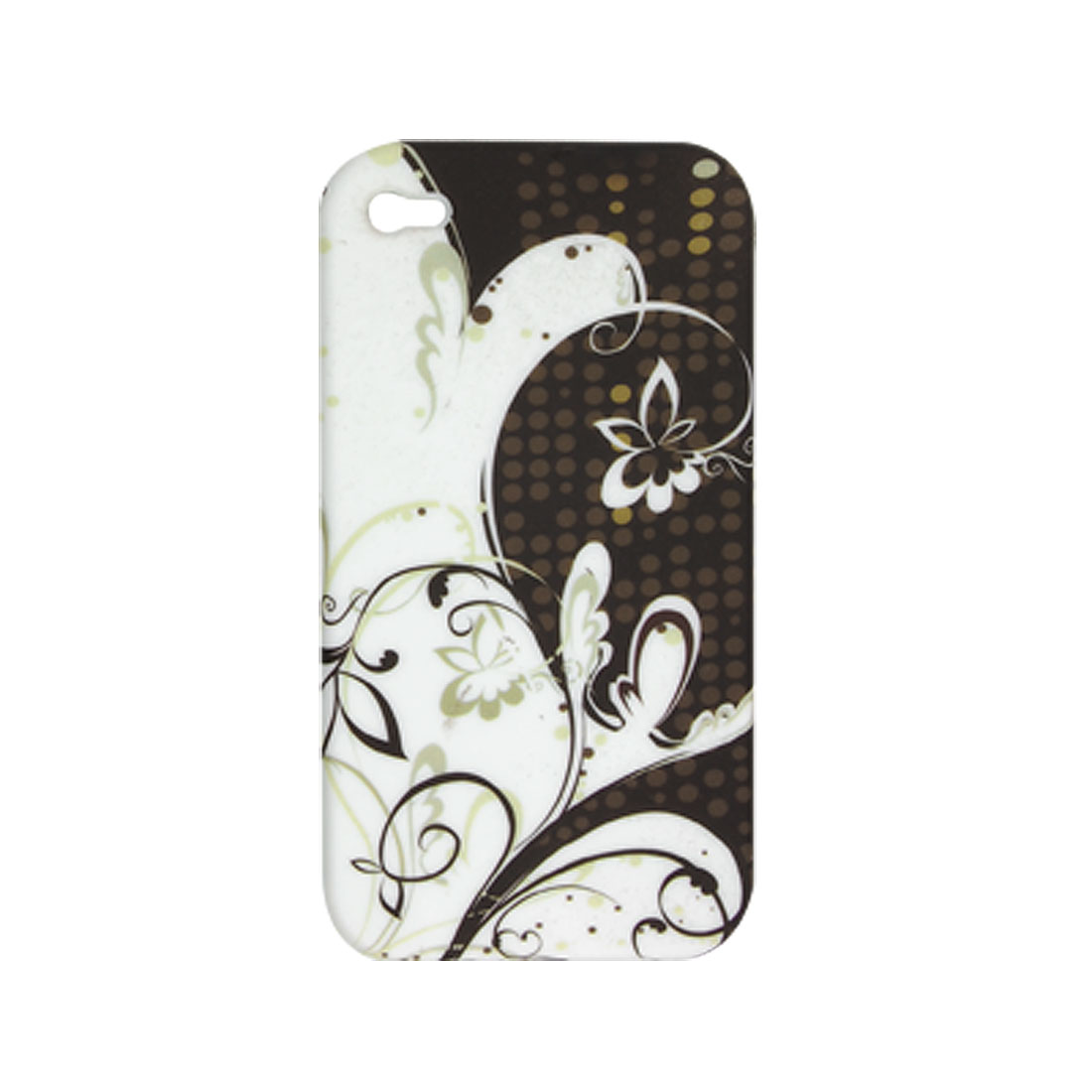 Rubberized Flower Print Soft Plastic Case Cover for Apple iPhone 4 4G