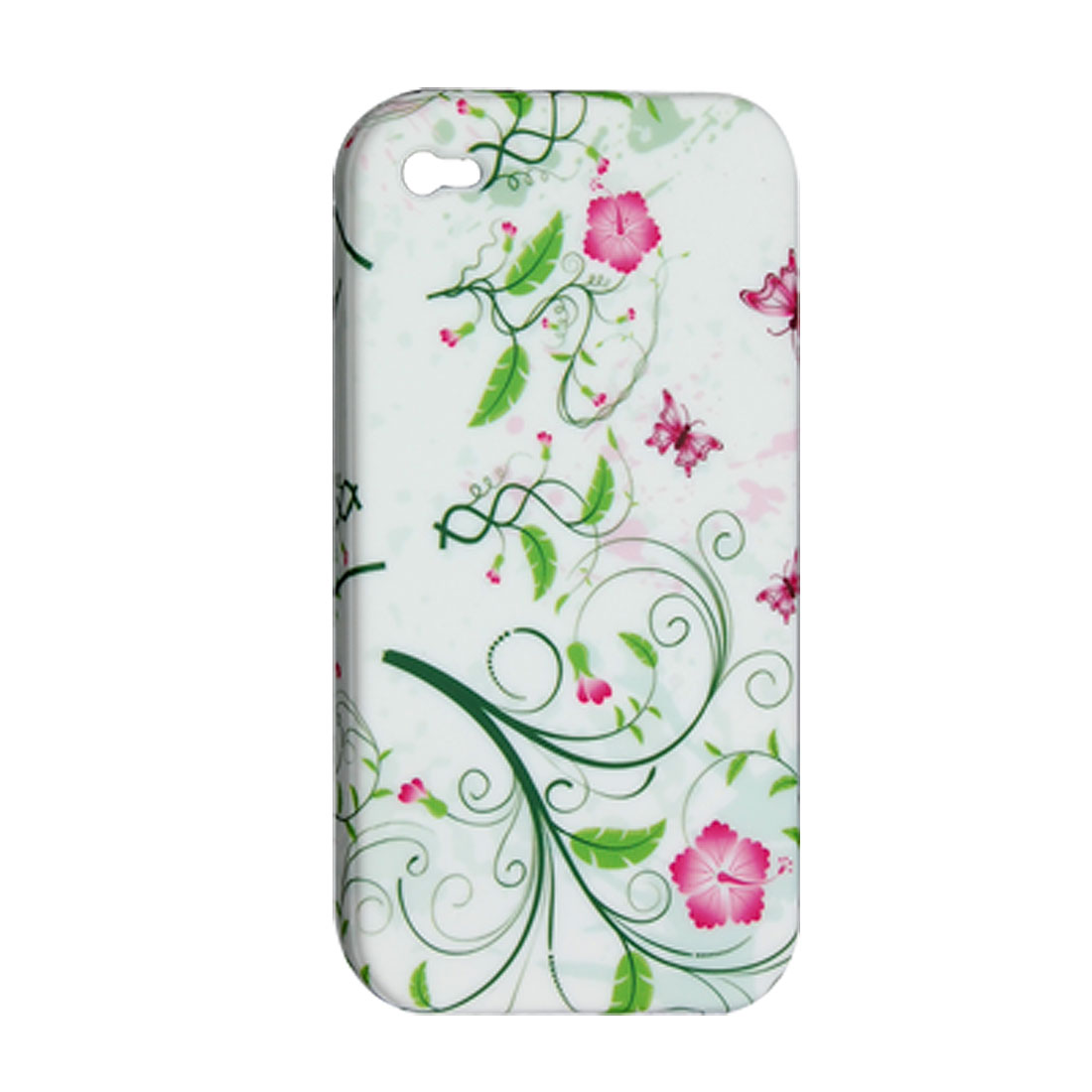 White Flower Style Soft Plastic Case for iPhone 4 4G