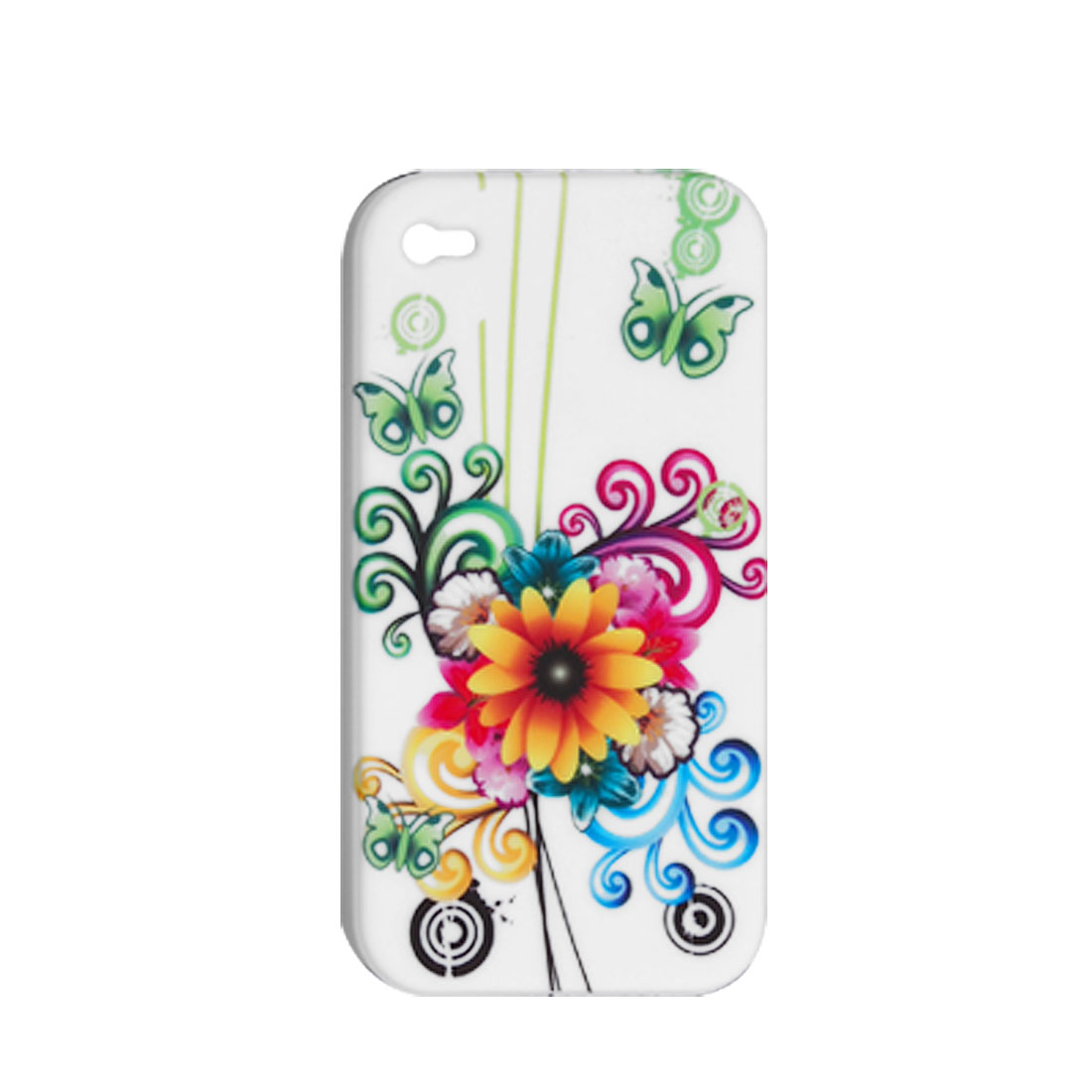 Flower Pattern Soft Plastic Protective Case for Apple iPhone 4 4G