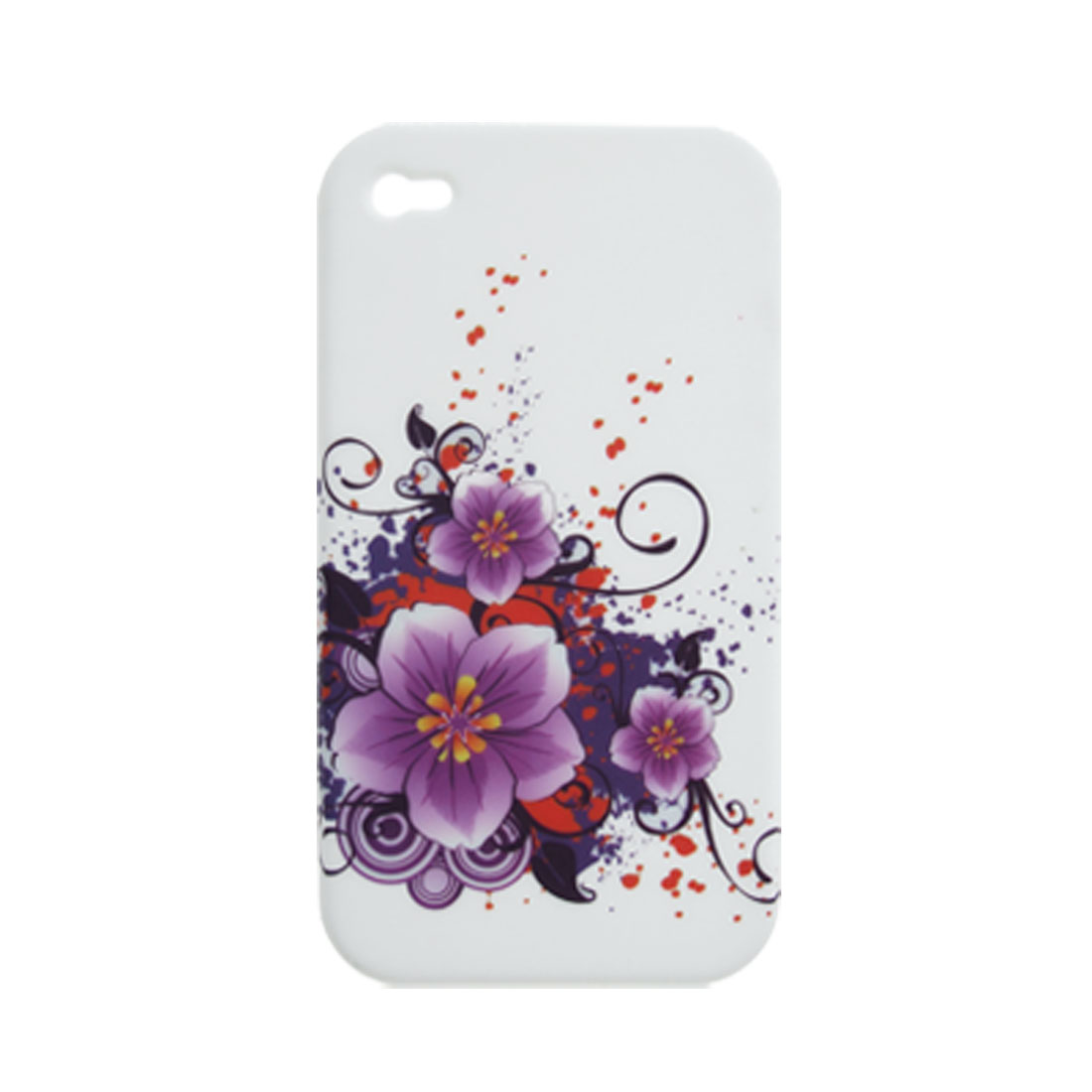 Flower Pattern Textured Inner White Soft Plastic Case for iPhone 4 4G