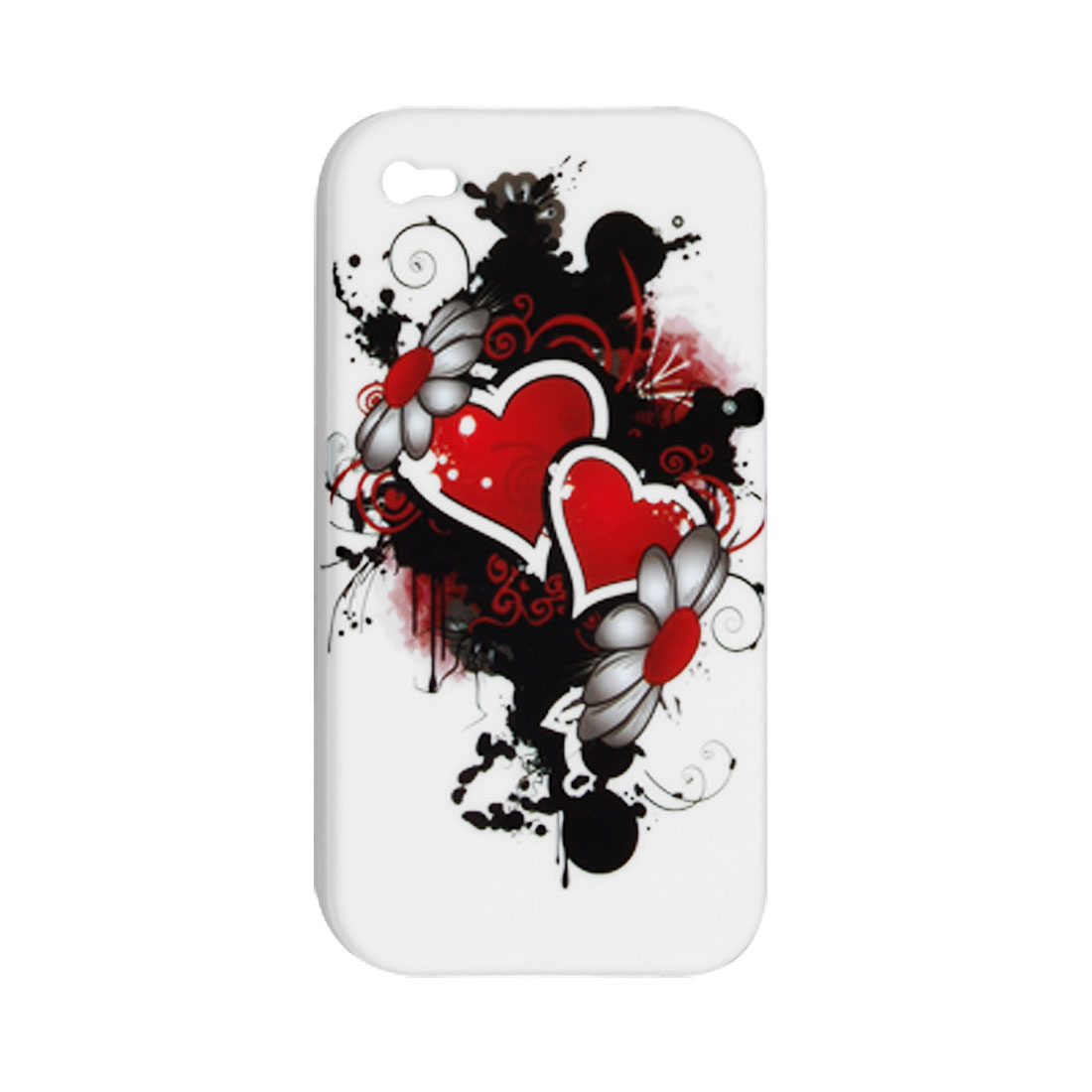 Red Heart Design Plastic White Case for iPhone 4 4G