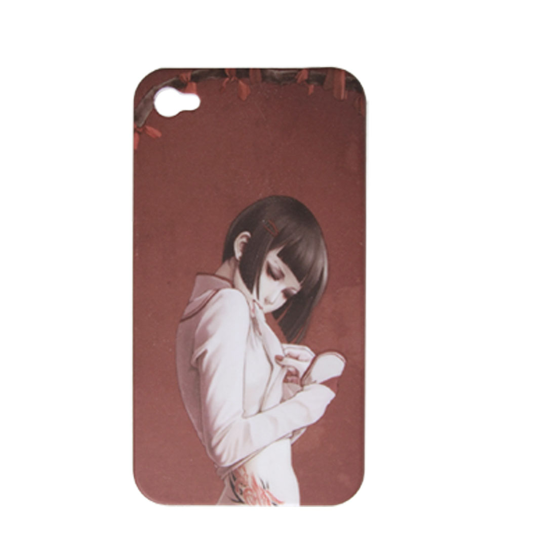 Hard Plastic Rubberized Tattooing Beauty Back Case for iPhone 4 4G