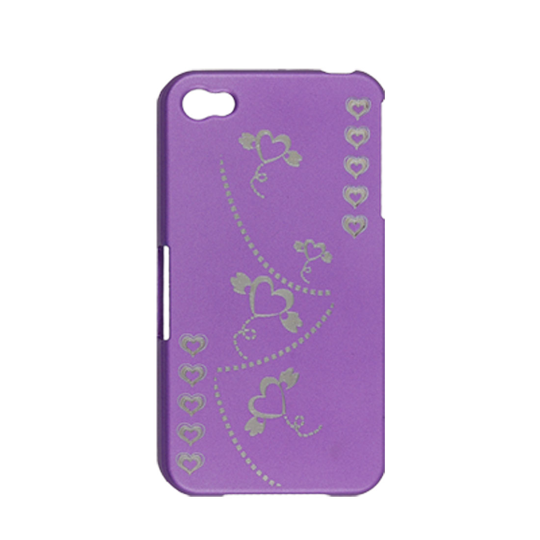 Purple Small Heart Print Rubberized Hard Plastic Case for Apple iPhone 4 4G