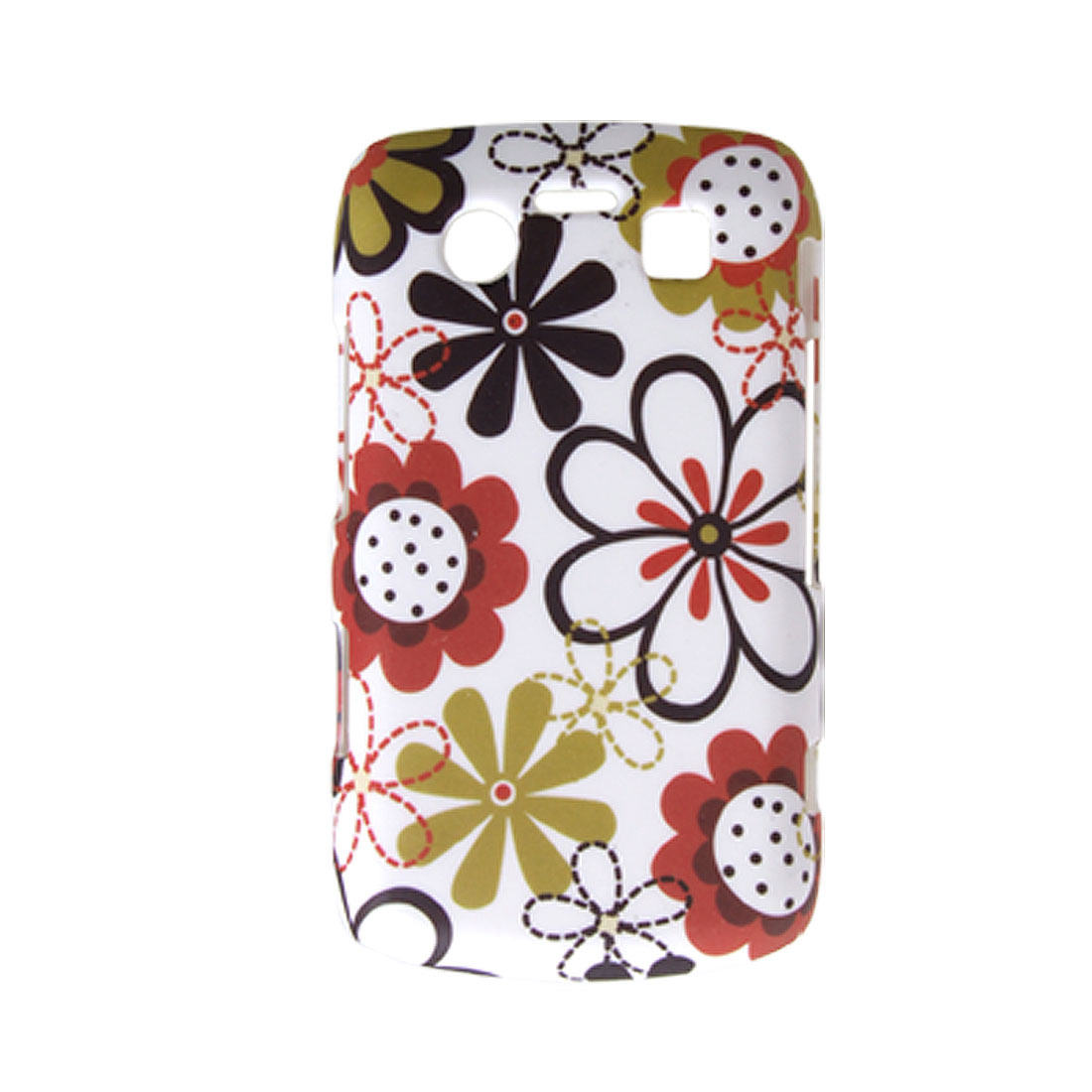 White Hard Case Rubberized Flower Cover for BlackBerry 9700